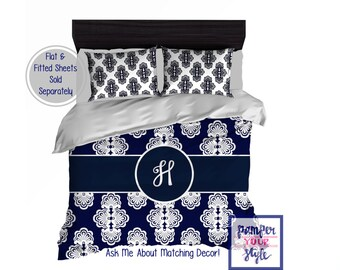 Dorm Room Monogrammed Bedding - Initial Bedding - Monogrammed Bedspread - Personalized Duvet Cover - Navy Blue and White Bedroom Decor