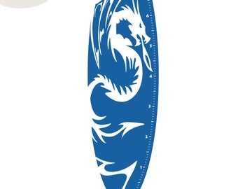 Dragon Measurement Surfboard - Vinyl Wall Decal - Growth Chart
