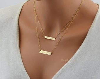 Layered Bar Necklace, Layering Necklace, Personalized Layered Necklace Set, Double Layered Bar Necklace, Layer Necklace, Bar Necklace Set