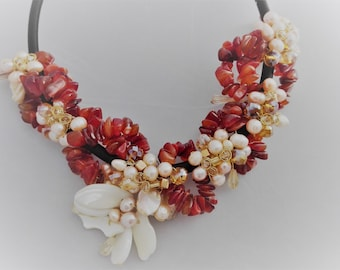 Carnelian, Mother of Pearl, Crystal, Faceted Glass and Fresh Water Pearls Satin Cord Necklace