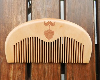 Beard n Moustache Handcrafted Peach Wood Comb, Birthday Gift, Birthday Gift for Men, Gift for Him, Gift Idea for men, Birthday Gift ideas