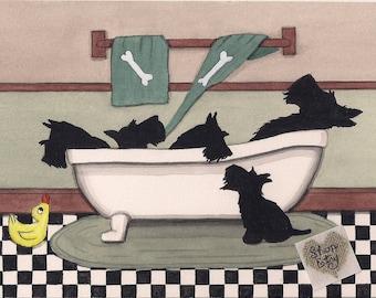 Scottish terriers (scotties) fill bathtub / Lynch signed folk art print