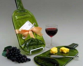 Large Wine Bottle Cheese Plate -- Light Amber