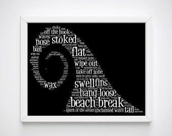Surf Wall Art, Gift for Surfer Girl, Surf Decor, Coastal Wall Decor, Ocean Waves, Wave Prints, Surf Gifts, Surf Printable, Cool Surfer Gifts