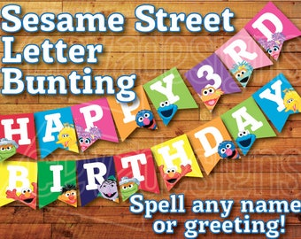 Printable Sesame Street Banner Birthday Decoration / Sesame Street Party Bunting Decor Instant Digital Download Elmo Cookie Monster