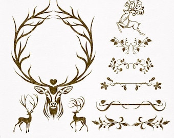 Digital cliparts, frame with deer, digital embellishments, VECTOR and PNG files