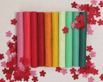 Wool Felt // Geranium // Benzie Design, Benzie Felt, Wool Felt Sheets, Felt Flowers, Felt Garland, Pink Felt, Green Felt, Felt Hair Bows
