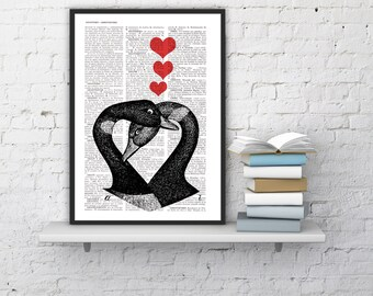 Dictionary Page Upcycled Book Print Upcycled Book Print Vintage Geese in Love  Collage Print BPAN157