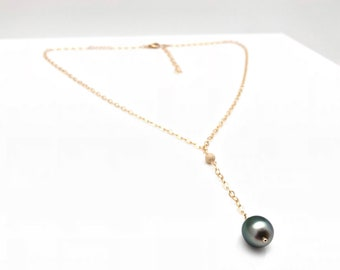Tahitian Pearl Y Necklace // Wire Wrapped Tahitian Pearl Necklace // Gold Fill Tahitian Pearl Necklace
