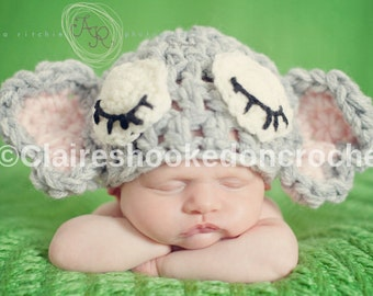 Elephant baby hat, beanie. Fab newborn photography prop, general use or baby shower gift