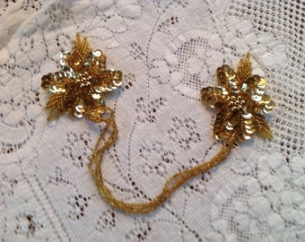 Vintage Sequined and Beaded Gold Flower Appliqué, Sweater Keeper