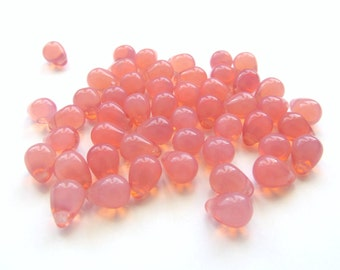 Smooth Milky Pink Glass Teardrop Briolettes, 8mm x 6mm - 25 pieces