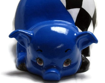 Ceramic Piggy Bank - Bright Blue Piggy Bank - Checkered Flag Piggy Bank