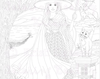 Fantasy Coloring, Adult Coloring Page, Digital Download, Anjelic from the Little Witches and Wild Things Collection, Coloring by Kristi