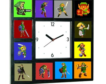 History of Link from The Legend Of Zelda Clock with 12 different images