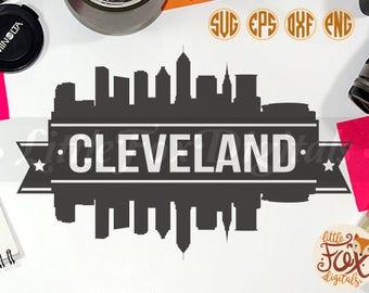 CLEVELAND OHIO, USA Skyline America City Silhouette Clipart Set Digital Illustration Scrapbook