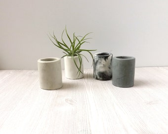 mini cylinder cement planter // marbled or white // cute gift // desk accessory // wedding favor // unique gift // air plant