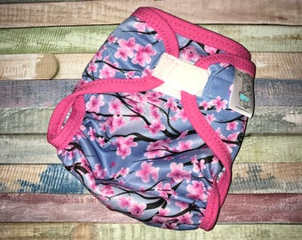 Cherry Blossom Polyester PUL Cloth Diaper Cover With Aplix Hook&Loop Or Snaps You Pick Size XS/Newborn, Small, Medium, Large, or One Size