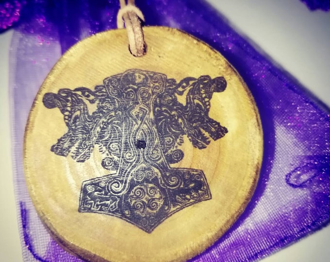 Thors Hammer Viking Necklace Charm leather Thong or Keyring Keyfob Handmade double wooden  key charms #Thor