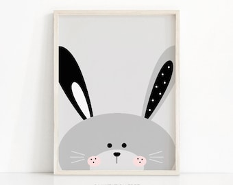 Bunny Print, Digital Download Nursery Print, Animal Nursery Art, Kids Print, Nursery Decor, Instant Download Printable Nursery, Bunny Art