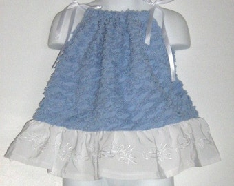 Baby Girl Upcycled Clothing. Pillowcase Dress / Top. Snow Bird. Vintage Chenille. Size 12 month to 3T. Length 16 inches