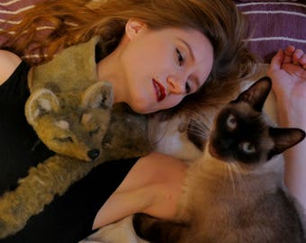 VEGAN STOLE - Fox / faux fur / vegan fashion / vegan fur / needle felted / animal / scarf / animal rights / handmade / couture / fox stole