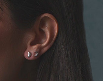 Silver moon studs