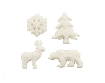 Woodland Sugar Decorations, Winter Sugar Decorations, Winter Forest Sugar Decorations