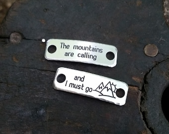 The Mountains Are Calling {Set of TWO} Shoelace Tags  .  Gift for Hikers, Campers, lovers of the outdoors  .  Inspirational Jewelry