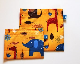 Reuseable Eco-Friendly Set of Snack and Sandwich Bags in Designer Jungle AnimalsFabric