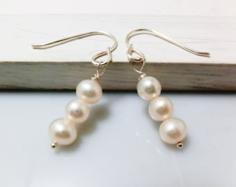 Trio Freshwater Pearl Sterling Silver Earrings. Everyday Jewelry by smoketabby.