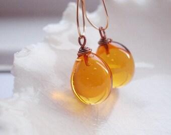 Amber Teardrop Murano Glass Earrings