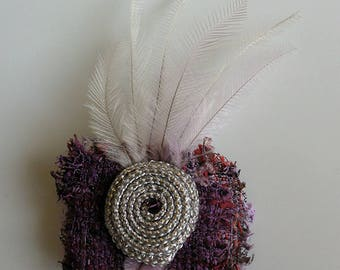 Boho Fabric, Crystal and Feather Clip and Pin