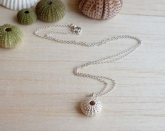 Sterling Silver Sea Urchin Pendant with Sterling Silver Chain or Cord - Medium Size Sea Urchin Necklace