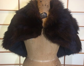 Vintage Fur Shrug Bolero Cape Poncho With Hook. Thick, Warm s/m/l
