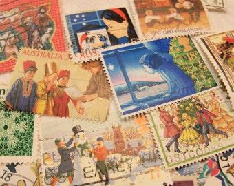40 Christmas Postage Stamps, Postage Stamps, Vintage Stamps, Used Stamps, World Wide Stamps
