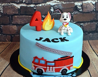 Fire Truck Theme Cake Decorating Kit (100% Edible)