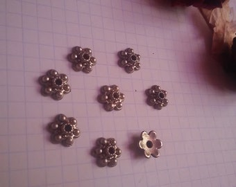 Spacer flowers silver 8 Pcs