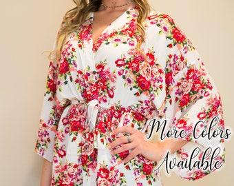 Floral Cotton Bridesmaid Robes     Bridesmaid Robe   Bridesmaid Gift   Floral Robe   Monogram Robes    Wedding Robe   Wedding Robes