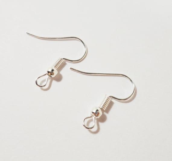 Silver Earring Hooks 19mm Silver Plated Fishhook Earring Wires, French Hook Earring Findings, Silver Ear Wires, Jewelry Findings, 40pcs