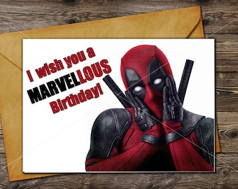 DEADPOOL Birthday Card // Printable greeting card / Instant download / Last minute Gift //