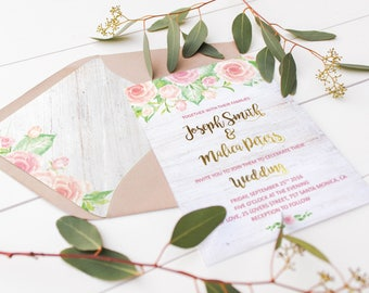 Blush Wedding Invitation Blush Pink Wedding Invitations Blush & Gold Wedding Invitations Rose Floral Wedding Invitation DIY Wedding Download