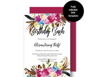 Bright Boho BIRTHDAY Invitation, Boho Floral Party Invitation, Printable Invitation, Digital Download, Invitation Template, DIY Invitation