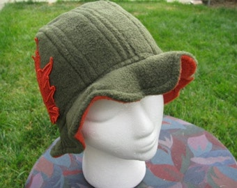 Scalloped Edge Fleece Bucket Hat with Beautiful Rust Lace Fall Leaf