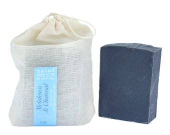 Melaleuca and Charcoal Olive Oil Facial Soap - tea tree soap for oily skin - vegan and cruelty free - palm free