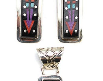 Inlay Pendant and Earring Set