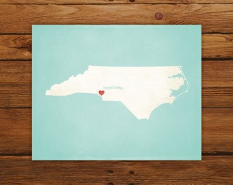 Customized North Carolina 8 x 10 State Art Print, State Map, Heart, Silhouette, Aged-Look Print
