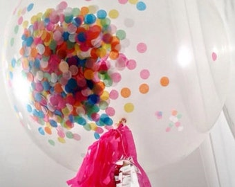 "Custom Confetti 36"" Balloon jumbo -Tissue Paper - ANY COLOR you choose"