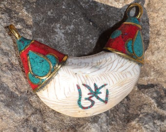 Now on sale Naga shell pendant bead with turquoise & coral SH158