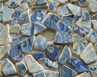 80  beach found  sea pottery shards in blue and white for mosaics, crafts ect